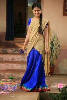 a traditiona south indian half saree