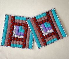 """Quilted Patchwork Pot Holders / Hot Pads / Trivets / Mug Rugs / Candle Mats – 9-1/2"""" x 9-1/2"""" - Set of 2 –Turquoise, Mauve, Purple, Lavender by DocksideDesigns on Etsy"""
