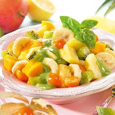 ALDI Nord - Rezept - Tropischer Obstsalat mit Basilikum-Joghurt-Sauce