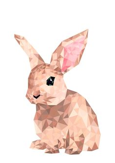 Bunny Geometric Art, Rabbit Art, Bunny Painting geometric Print, Rabbit Painting Print, Bunny Poster decor, Bunny Wall Art, Cute Bunny Decor, interior design art, digital animal art, wall art poster, instant download art, bedroom wall art