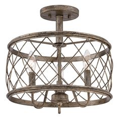 Showcasing an openwork steel frame with a weathered finish, this vintage-inspired semi-flush mount adds a rustic touch above your dining table or in the foye...