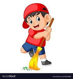 Happy boy using the red cap sweep the trash Vector Image
