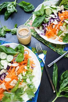 Spicy Thai Almond Salad Dressing / This delicious, creamy and tangy salad dressing will have you craving greens! #thai #salad #dressing #almondbutter #healthy