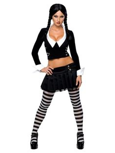 Our sexy Wednesday Addams outfit is the perfect Addams Family Costume. Black top Black skirt Black and gray tights Officially Licensed Addams Family Costume Wig sold separately SKU: Costumes Sexy Halloween, Adult Costumes, Costumes For Women, Adult Halloween, Buy Costumes, Halloween City, Holiday Costumes, Woman Costumes, Halloween 2013