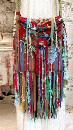 Handmade Hippie Festival Fringe Bag Gypsy Artisan Boho Hobo Purse OOAK tmyers #Handmadetmyers #CrossBodyMessenger