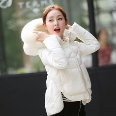 684022e34ea3b 2016 New Brand Winter Jacket Women Faux Fur Hooded Long Sleeve Parkas Woman  White Short Winter Coat Woman