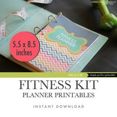 Fitness Planner - Weight Loss Planner - Menu Planner - Daily Calorie Tracker - Progress Chart - Half Letter Size 5.5 x 8.5 inches ready to print - designed by OmbreOrganizers on Etsy