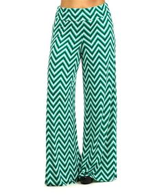 Loving this Green & Black Zigzag Palazzo Pants - Plus on #zulily! #zulilyfinds