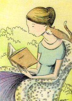 by Nicole Wong via Pinzellades al món: Dones, gats i llibres / Mujeres, gatos y libros / Women, cats and books