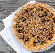 Blueberry Nectarine Pie via @kingarthurflour