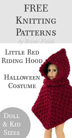 FREE Knitting Pattern: Little Red Riding Hood Halloween Costume by Brome Fields