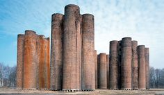 """Lauchhammer bio-towers, Lauchhammer, Germany, (From """"Brick""""' William Hall. Brick Architecture, Contemporary Architecture, Earth And Space Science, Luz Natural, Natural Hair, Brick Building, Water Tower, Facade Design, Brickwork"""