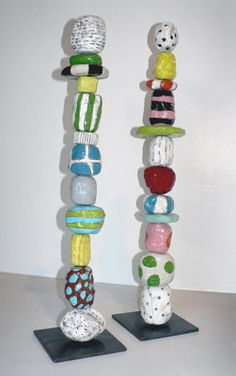 SALLY  RUSSELL - Mini Totems, recreate using polymer or paper beads on a skewer