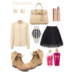 Spencer- Pretty little liars by asapqueen on Polyvore featuring MaxMara, MSGM, Hermès, Kate Spade, Charlotte Tilbury and Victoria's Secret