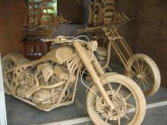 Motorcycles carved from wood~