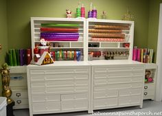 Fabulous Gift-Wrapping station and Craft Room Craft Room Storage, Storage Bins, Room Organization, Craft Rooms, Storage Solutions, Refrigerator Organization, Cabinet Storage, Space Crafts, Home Crafts