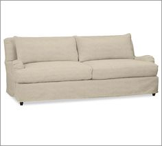Carlisle Slipcovered Sofa, Down-Blend Cushions, Linen Oatmeal