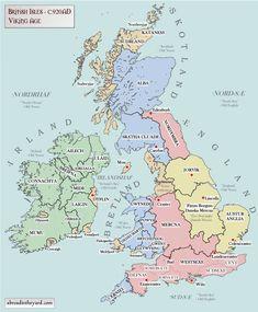 Map of Britain and Ireland (920 AD) Uk History, European History, British History, History Facts, World History, Ancient History, European Tribes, Scotland History, Study History