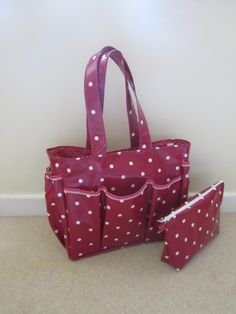 Handmade oilcloth picnic/shopping bag with useful pockets and ...