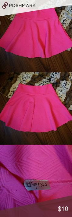 Skater Skirt Free Kisses hot pink, textured skater skirt. Very bright color and fun embossed texture. Free Kisses Skirts Circle & Skater