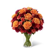 Autumn Jewels Orange Rose Bouquet ($40) ❤ liked on Polyvore featuring home, home decor, floral decor, orange lilies, orange flower bouquets, rose home decor, lily flower bouquet, fall home decor and jewel bouquet