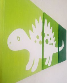 Dinosaur Ombre Canvas Art (Choose your colors!) www.ADapperDuck.com This shop has so many cute designs!