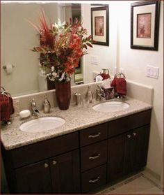 Granite Bathroom Countertop: Dark Cupboards, Light Counter