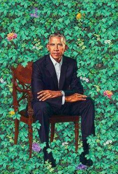 ##BarackObama,  by Kehinde Wiley.!