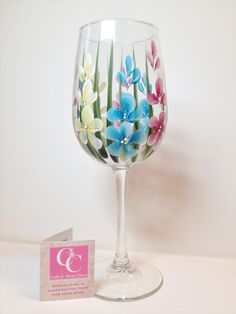 Hand painted 16oz. Wildflower Clear Wineglass. Perfect for your favourite wine. Great for Mother's Day, Birthdays, Teacher's gifts by CCCraftsatHome on Etsy