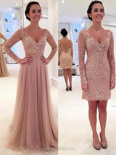 New Arrival Prom Dresses, Detachable V-neck Long Party Gowns, Tulle Appliques Lace Long Sleeve Formal Evening Dresses