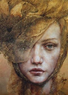 """""""The Players"""" - Pam Hawkes, oil, bee's wax and Dutch metal on board {contemporary figurative artist beautiful female headdress woman face portrait painting} L'art Du Portrait, Woman Portrait, Art Visage, Art Watercolor, Illustration Art, Illustrations, Artist Gallery, Face Art, Art Faces"""
