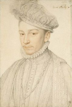 François Clouet (1515c.-1572) - 1560s preparation study for a painted portrait of Charles IX of France (Hermitage, St. Petersburg)