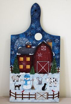 Winter Folk Art Hand Painted Wood Bread Board - Primitive Farmyard Scene with Red Barn, Cats, Cow, Sheep, Chickens, Snowman MADE TO ORDER