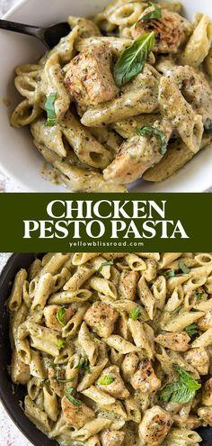 Chicken Pesto Recipes, Easy Pasta Recipes, Pesto Chicken, Easy Meals, Cooking Recipes, Healthy Recipes, Pasta Dishes With Chicken, Healthy Chicken Pasta, Heathy Pasta