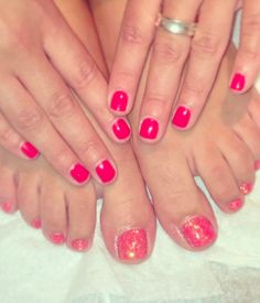 Pink mani and pedi at Voodou #voodou #voodouliverpool #mani #pedi #glitter