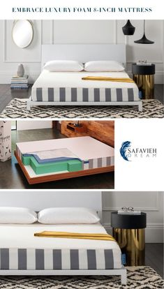Go ahead, hit snooze. Our Embrace 8-inch Luxury Foam Safavieh Dream Mattress is the ultimate indulgence. Designed for the bespoke sleep experience, it was crafted with Dream Memory Foam to adjust to your every stretch and turn. Nights stay cool with its breathable gel memory foam and soft cover. Daydreams optional. #LuxuryFoam #Mattress #SafaviehDream Mattress In A Box, Pillow Top Mattress, Affordable Mattress, Mattress Springs, Stay Cool, Cozy Bed, Stay The Night, Mattresses