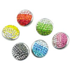 Soleebee 6pcs Polymer Clay Alloy Snap Buttons Jewelry Charms - Round Gradient ** See this great item.