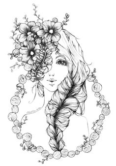 Original Portrait Drawing by Bertha Makes Fairy Drawings, Pencil Art Drawings, Art Drawings Sketches, Cute Drawings, Flower Crown Drawing, Mindfulness Colouring, Pattern Coloring Pages, Flower Embroidery Designs, Zentangle Drawings