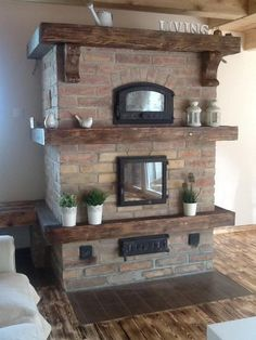 Stove Fireplace, Cottage Interiors, Home Living Room, Bbq, New Homes, Foyer, Indoor, Gazebo, House
