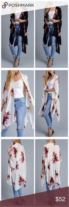 """Spring/Summer Breezy Floral Garden Party Kimono LIMITED EDITION✅ Amazing Floral Garden Party Kimono in Black. Can be worn as a cardigan, beach cover up, lounging at home and accessorize for date night! 100%Viscose. One Size -38""""x46"""" *Only 3 Left*Get the LOOK of the season! (White Kimono pics used to show details) October Love Other"""
