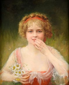 Carroll Beckwith (1852–1917), Girl with Flowers (date not known)