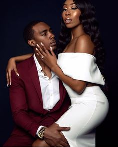 New York City vogue fashion inspired engagement shoot in studio. The couple wearing white dress and burgundy tuxedo. Couple Photoshoot Poses, Photoshoot Themes, Bridal Photoshoot, Couple Photography Poses, Couple Posing, Couple Portraits, Couple Shoot, Friend Photography, Couple Pictures