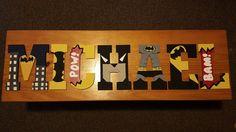 Wood Nursery Name Letters Batman/ 8 inch high letters/ 13 inch high letters/ All batman only