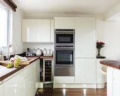 Handless cream gloss kitchen in loft conversion