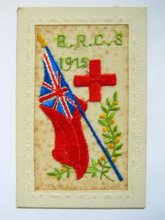 BRCS WW1 Silk Embroidered  Postcard : BRITISH RED CROSS SOCIETY 1915 B.R.C.S in Collectables, Postcards, Military, World War I (1914-1918) | eBay