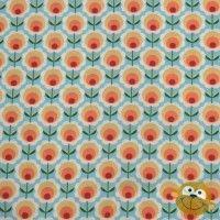 Orange Blossom In Blue Katoen