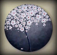 Delicado Árbol Blanco Rojo y Negro. Art Modern