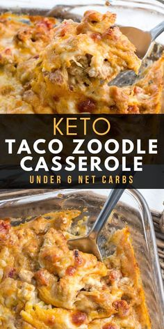 low carb Keto Taco Zoodle Casserole has all the flavor of taco mac without the carbs! Zucchini noodles, taco meat and a rich cheese sauce are baked until bubbly! The ultimate keto comfort food, under 6 net carbs per serving! Ketogenic Recipes, Low Carb Recipes, Diet Recipes, Cooking Recipes, Healthy Recipes, Healthy Food, Slimfast Recipes, Dessert Recipes, Gourmet