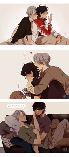 Get you a man who looks at you the way Victor looks at Yuri! It's not possible because the way Viktor looks at Yuri is special! Katsuki Yuri, Yuuri Katsuki, Anime Ai, Fanarts Anime, Drarry, Solangelo Fanart, Victor Y Yuri, Ai No Kusabi, Yuri On Ice Comic
