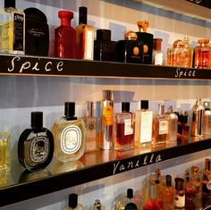 Our overflowing shelves at Scent Bar. Can't have too many vanillas! #niche #perfume #luckyscent